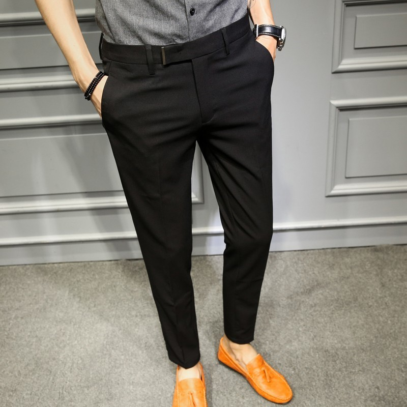 Korean Slim Fit Men Trousers Suit Pant Black Navy Solid Business Casual Office Trouser Pantaloni Tuta Uomo Stretch Suit Trousers