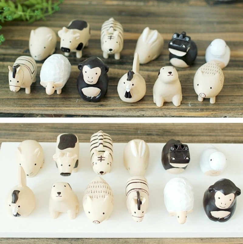 12 Pieces/set Animal Figures Artificial Decoration Ornaments Home Decoration Accessories  Miniature Figurines ElimElim