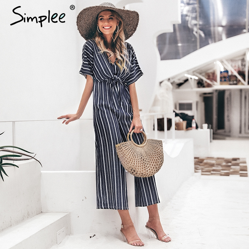 Simplee Vintage striped v neck long   jumpsuit   Summer sashes short sleeve overalls Elegant wide leg office ladies   jumpsuits   romper
