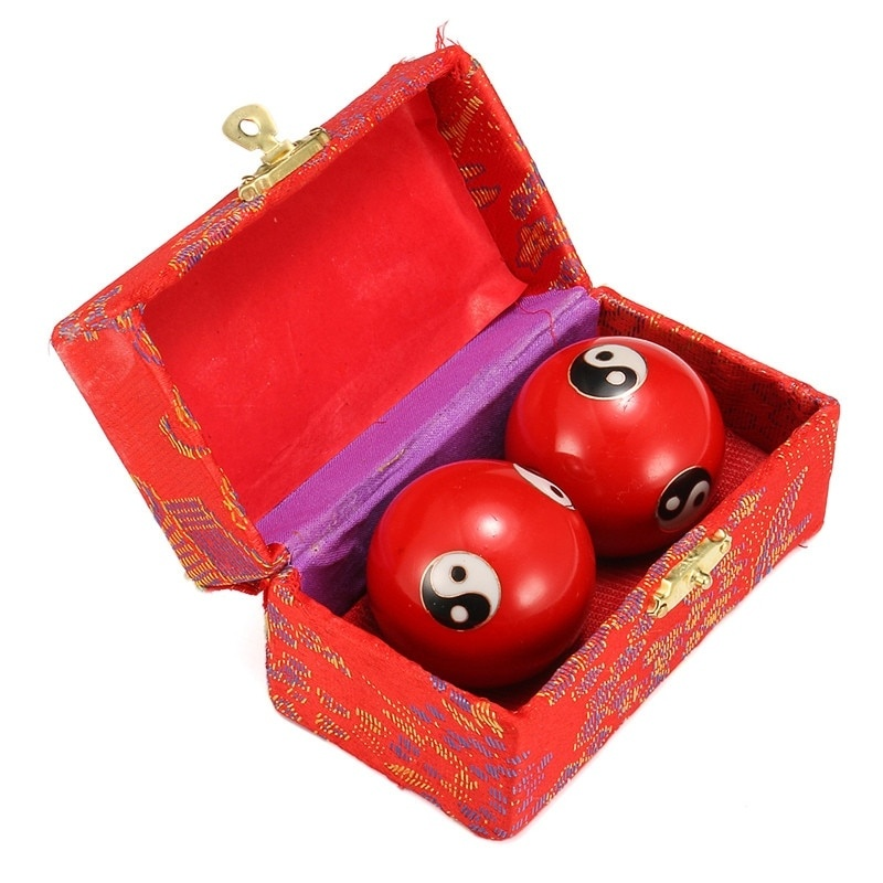 Kung Fu Hand Finger Exercise Stress Relief Baoding Balls Relaxation Therapy Yin Yang Handballs Red/Green/Blue Massage Tool