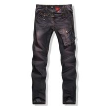 Высокое Качество Твердые мужчины джинсы Мода Тощий Байкер Джинсы Повседневная Черный Марка Одежда Slim Fit Мужчины Брюки Плюс Размер