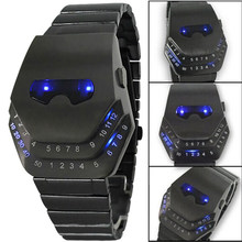 Fashion Pria QUARTZ Mewah Jam Tangan Digital Ular Hitam dengan Lampu Biru LED Jam Tangan Stainless Steel Iron Man(China)