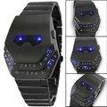 2016 Moda Relógio de Quartzo relógios De Luxo Cobra Preto com Luz LED Azul Dos Homens de Aço Inoxidável Relógio de homem de ferro