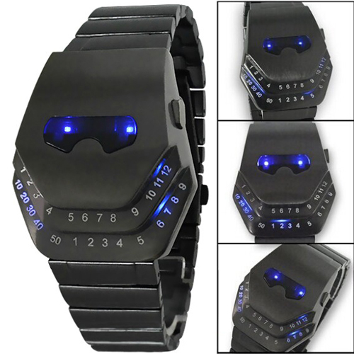 Fashion Men Quartz  Luxury Digital Watches Snakelike Watch Black With Blue Light LED Wristwatches Stainless Steel Watch Iron Man