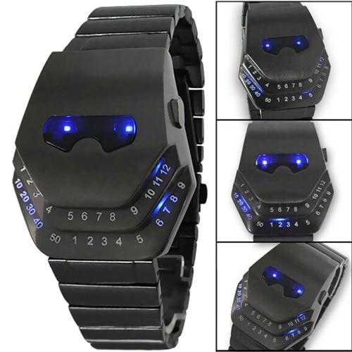 Fashion Men Quartz  Luxury Digital Watches Snakelike Watch Black with Blue Light LED Wristwatches Stainless Steel Watch Iron Man