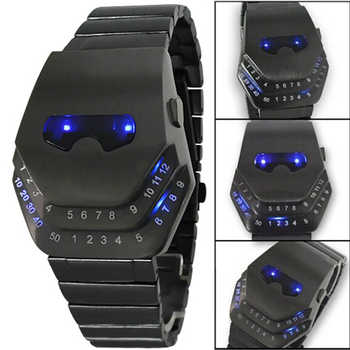 Fashion Men Quartz  Luxury Digital Watches Snakelike Watch Black with Blue Light LED Wristwatches Stainless Steel Watch Iron Man - DISCOUNT ITEM  18% OFF All Category