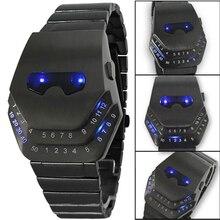 ファッション男性クォーツの高級デジタル腕時計蛇腕時計ブラック青色光led腕時計ステンレス鋼アイアンマン