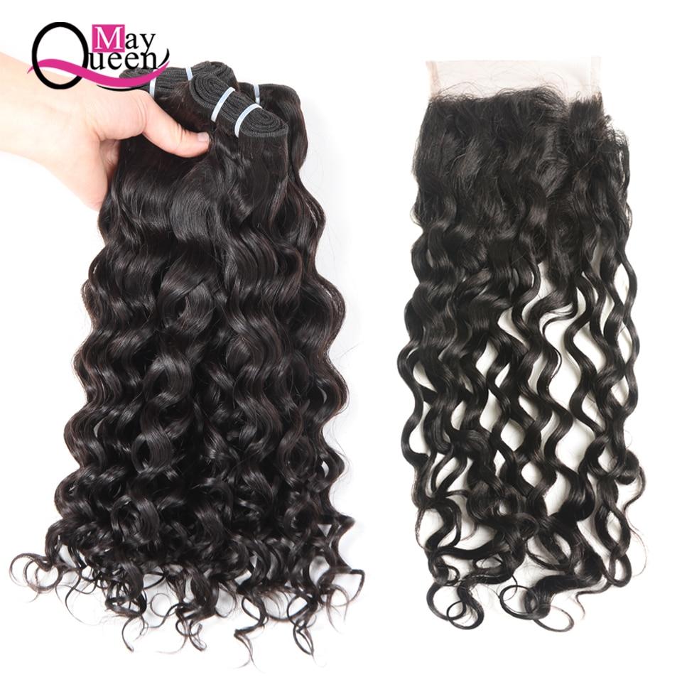 May Queen Hair Peruvian Hair Bundles Vann Wave Bundler Med Lukking 4 - Menneskelig hår (for svart)