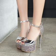 PXELENA Gorgeous Sexy Extreme Spike High Heels Wedding Shoes Birde Peep Toe  Thick Platform Bling Bling Sandals Women Gold Silver 0285527a5762