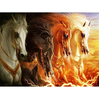 Needlework Diy Diamond Painting Cross Stitch Horse Spirited Fire Pentium Diamond Embroidery Animal Mosaic Home Decor CC072 image