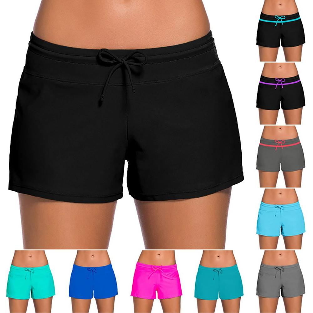 Swimming-Trunks Boxer Women Beach And Summer United-States Hot-Spring The Solid-Color