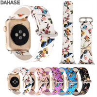 DAHASE Watchband For Apple Watch Leather Strap Traditional Chinese Realistic Painting Style Bird Flower Band For