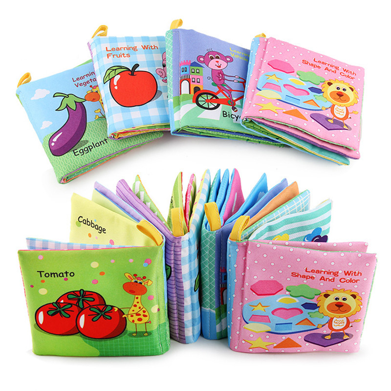 Cute Fruit Vegetables Traffic Shape Style BabyToy Children Early Education Soft Cloth Books Learning Education Activity Books