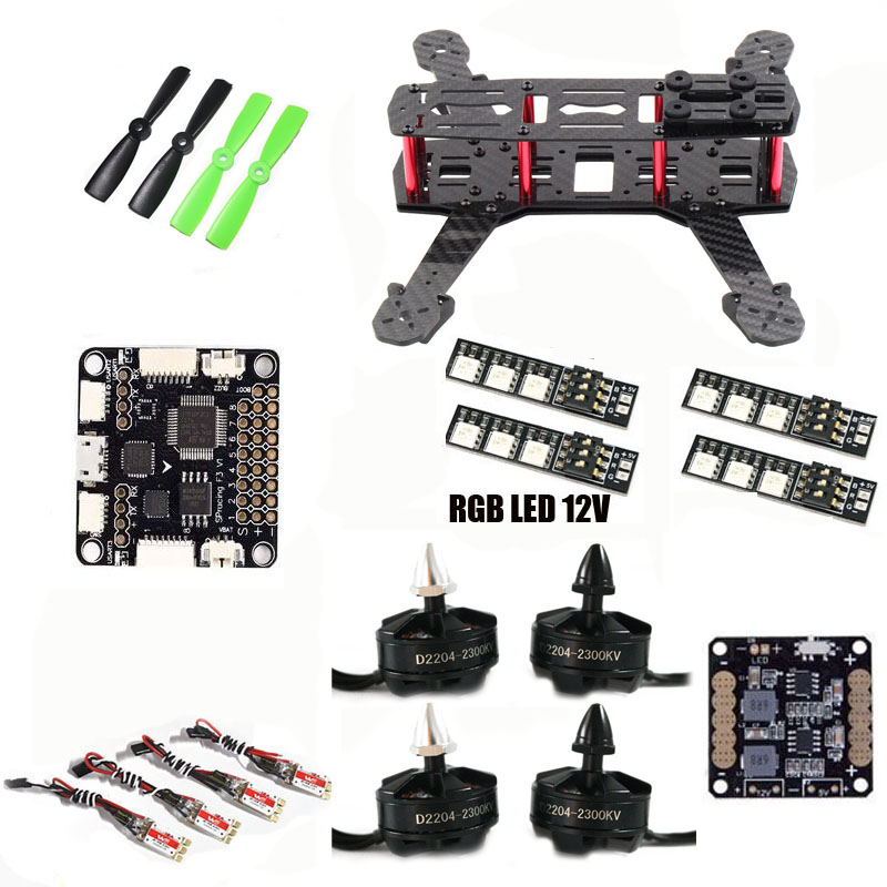 QAV250 ZMR250 quadcopter frame kit SP Racing F3 Flight Control D2204 motor WST 12A ESC for cross racing drone FPV diy carbon fiber frame arm with motor protection mount for qav250 zmr250 fpv mini cross racing quadcopter drone