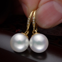 jewelry 925 silver real natural big inlaid natural South African super mirror light natural pearl earrings jewelry Natural Color