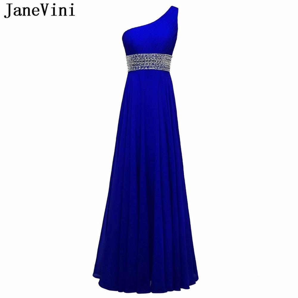 JaneVini bleu Royal mousseline de soie longues robes de demoiselle d'honneur avec des perles de cristal une ligne une épaule élégante robe femmes pour la fête de mariage