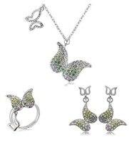 OMH all'ingrosso Farfalla IN oro bianco 18KT Pendente cristalli Austriaci moda Earrings + necklace + anello Gioielli set 4241
