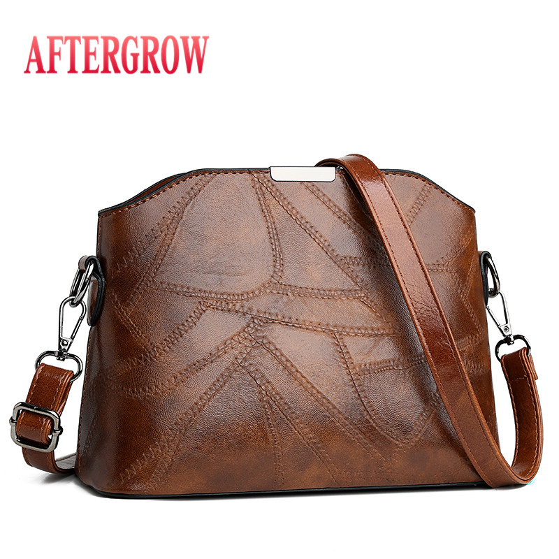 New Fashion Patchwork Female Shoulder Bag Vantage Leather Small Flap Crossbody Handbag For Women Messenger Bags sac a main femme in Shoulder Bags from Luggage Bags