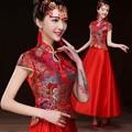 2015 Fashion Bride Wedding Qipao Female Red Long Cheongsam Chinese Traditional Dress women vestido de festa Free Shipping