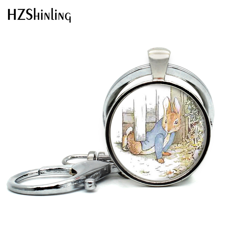 2017 New Arrival Peter Rabbit Pendant Keychains Lovely Rabbit Jewelry Cute Animal Glass Cabochon Key Ring Wholesale