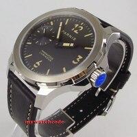 44 мм Парнис черный циферблат orange mark сапфировое стекло 6497 Рука обмотки Мужские часы