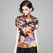 Silk Blouse Women 2018 Summer Fashion Classic Chinese Style Printed Stand Collar Short Sleeved Vintage Tops S-XXXL