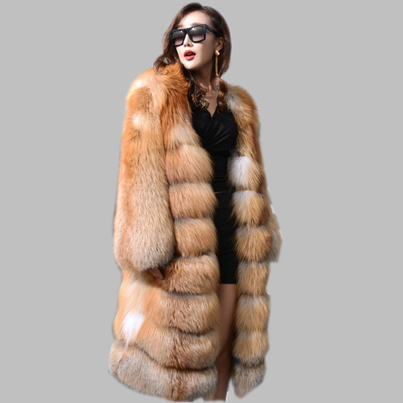 Hot Sale Whole Red Fox Fur Coat For Women Winter Jacket Real Long ...
