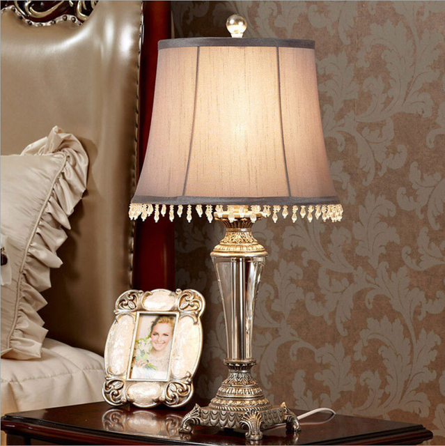 US $320.01 |Webetop Vintage Crystal Table Lamps Fashonial Europe Style  Bedside Light Lamp Bedroom Table Lamp Lighting Fixtures Loft Lustre-in  Table ...