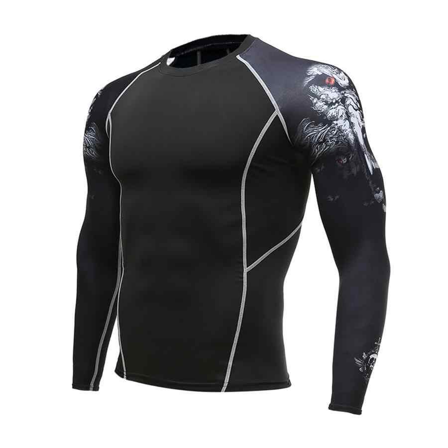 Компрессионные колготки Мужская рубашка для пробежек дышащий с длинным рукавом Спорт Рашгард уличная спортивная одежда для велоезды