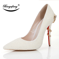 BaoYaFang white pearl Pointed Toe Wedding shoes Woman Bride fashion Party shoes Thin Heel Ladies dress shoe snake heel
