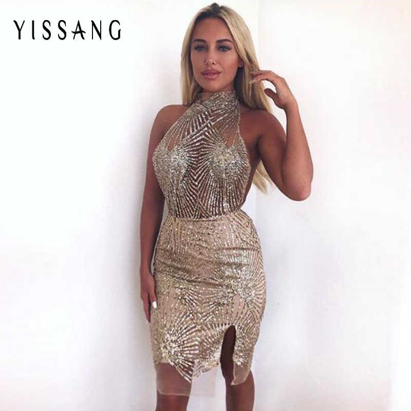 ce1a6614b61 Yissang 2018 Backless Sexy Summer Party Dress Women Halter Sleeveless  Sequined Dresses Nightclub Club Street Dress