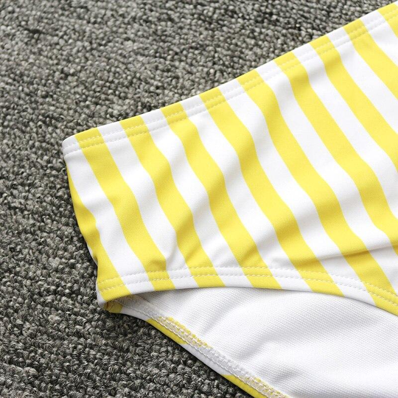 HTB1iAPwdv1TBuNjy0Fjq6yjyXXa4 PLAVKY 2019 Retro Sexy Yellow Striped Strapless Bandeau Biquini Cut High Waist Swim Bathing Suit Swimsuit Swimwear Women Bikini
