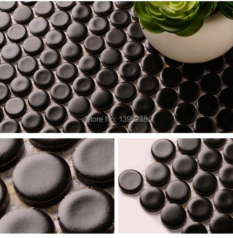 Black penny round ceramic tile for wall,Kitchen backsplash porcelain mosaic tile,Bathroom wall decoration,LSYBY05