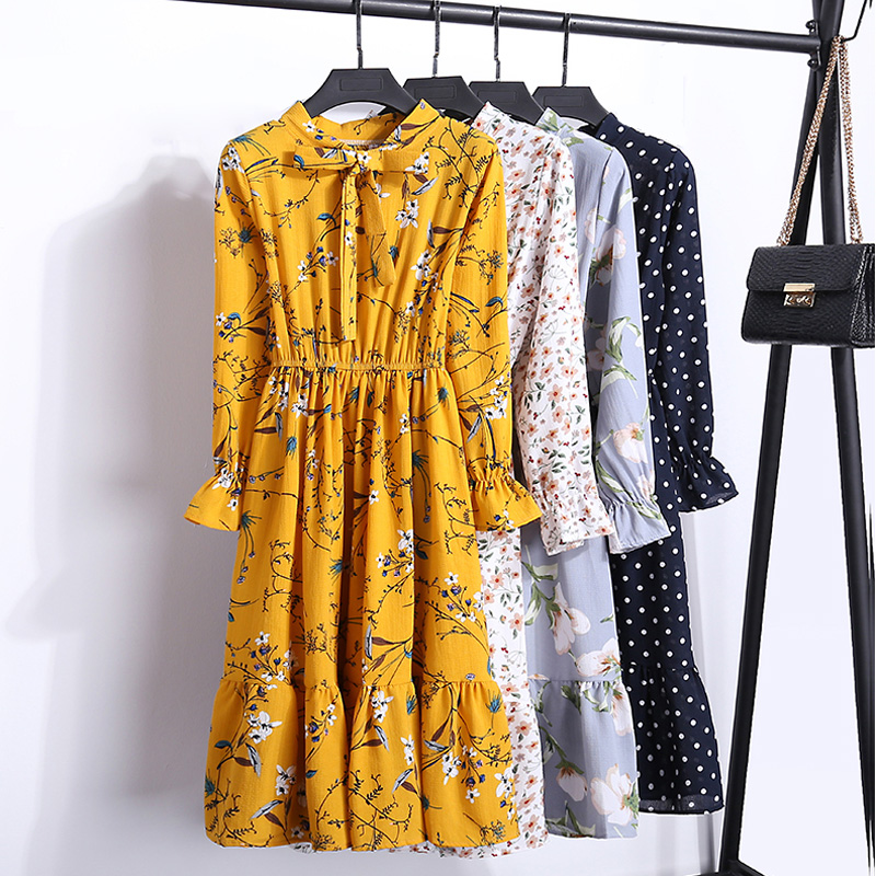 Floral Print Chiffon Dress Women 2019 New Autumn Casual Midi Party Dress Female Long Sleeve Dresses Ladies Vestidos Mujer robe Платье