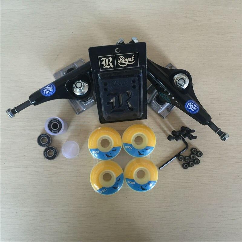 Peças de skate REAL 5.25 Caminhões Do Skate 51mm 52mm Rolamentos de Skate Rodas & ABEC 7 Plus Royal Almofadas de Riser & UM Conjunto de Hardware - 5