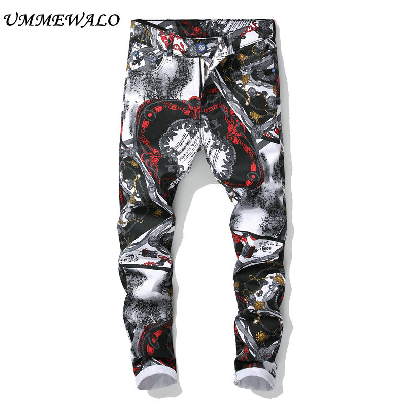 UMMEWALO Printed Jeans Men Fashion Stretch Printing Jeans Mens Designer Slim Fit Straight Jean Male Brand Jeans Trousers