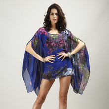 Boho Batwing Sleeve Chiffon Blouse Women Casual Floral Print Loose Kimono Shirts Big Size Beach Tunic Tops Shirt  Robe