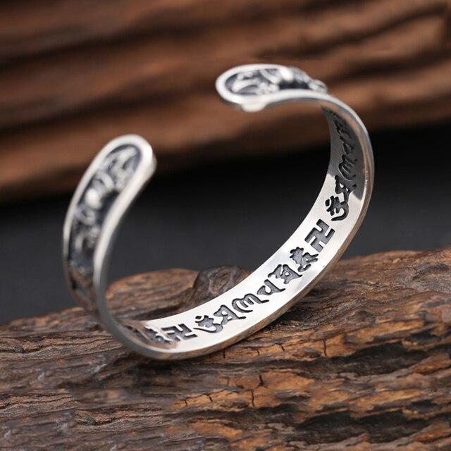 925 Sterling Thai Silver Bangle Men Jewelry Buddha Mantra Instruments Bracelet Bangle Women Gift Fine Jewelry Thailand B6 5