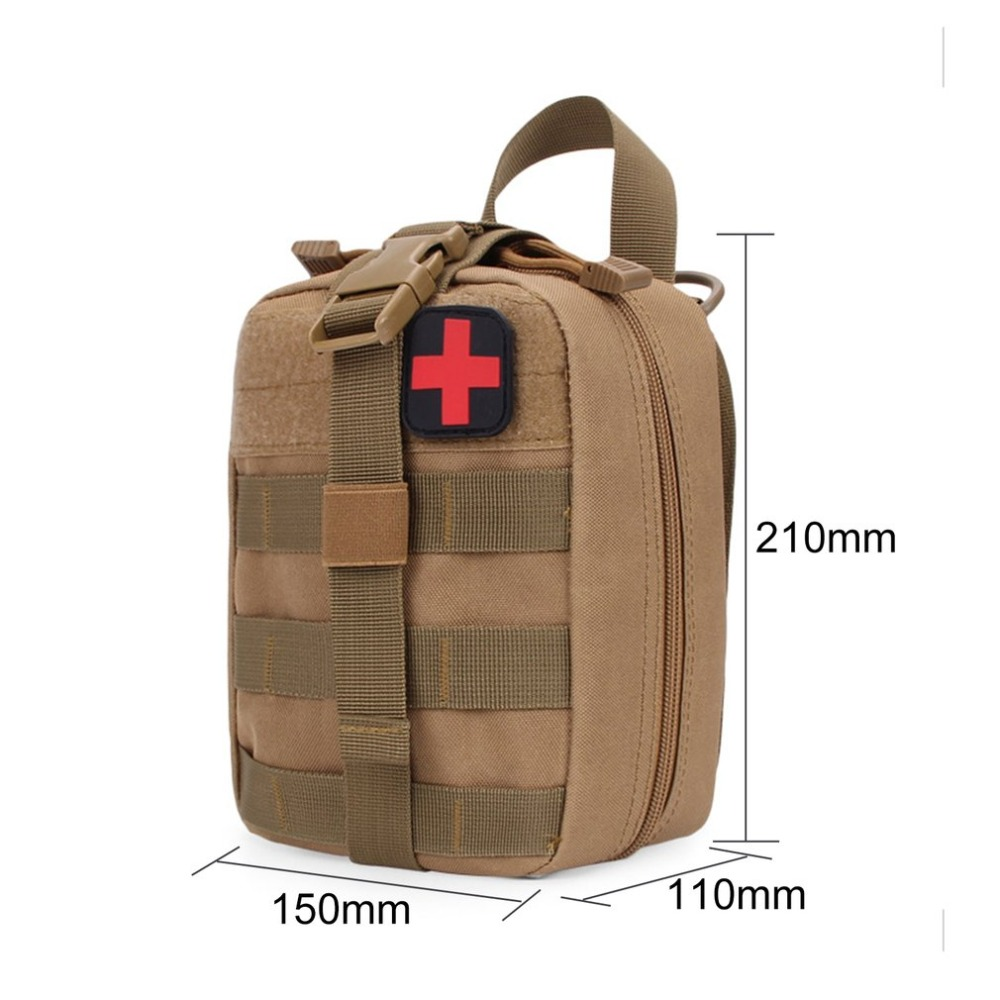 Classic Khaki Tactical Bag Outdoor Travel First Aid Kit Waist Pack Camping Climbing Bag Emergency Case Survival Kit Storage Bag