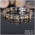 "8.66""*10mm 52g Fashion 316L Stainless Steel Gold Black Men Women Biker Bicycle Motorcycle Chain Bracelets Bangles Top CZ Jewelry"