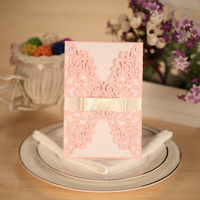 10pcs Laser Cut Wedding Invitation Cards Set Card Holder Envelope Carved Flower Wedding Card Wedding Party