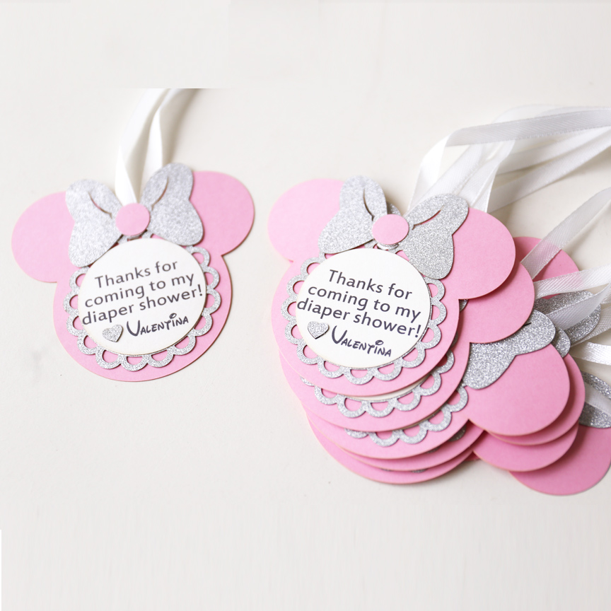 Personalized Birthday Favour Tags Custom Minnie Party