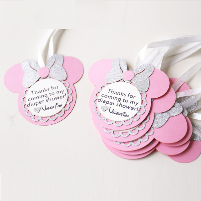 Personalized Birthday Favour Tags, Custom Minnie Party Gift Tags, Laser Cut Baby  Shower Thank