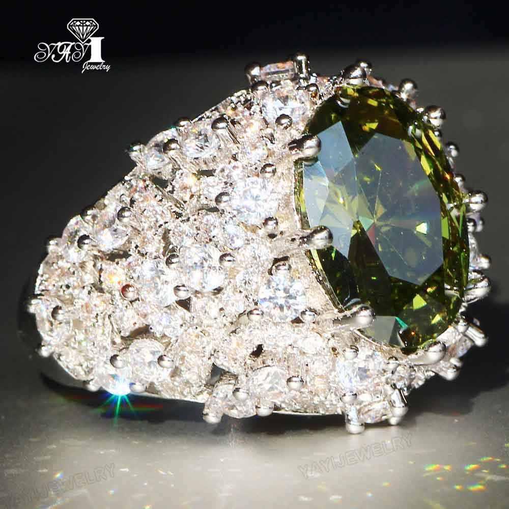 Yayi Perhiasan Putri Cut 13 Ct Perak Zirkon Hijau Warna Cincin Pertunangan Pernikahan Jantung Cincin Gadis Pesta Cincin Hadiah 960
