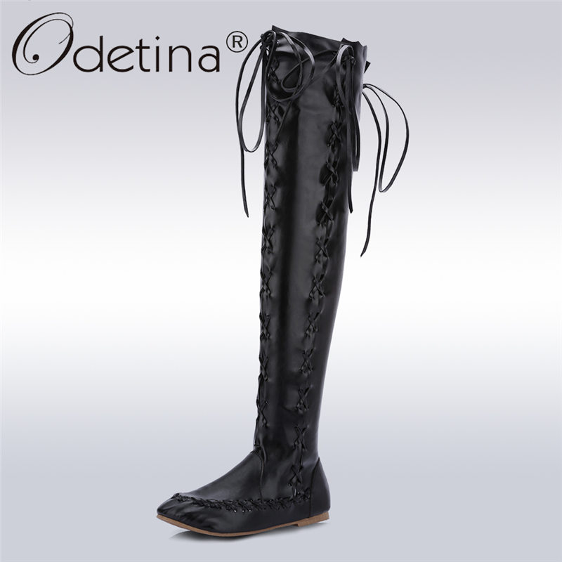 Odetina 2017 New Fashion Women Over The Knee Boots Flat Lace Up Thigh High Boots Cross Tied Motorcycle Boots Female Plus Size 43 women ultrathin lace top sheer thigh high silk stockings fashion style new gh