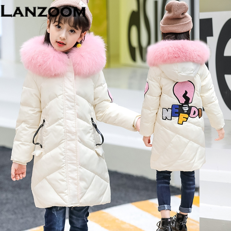 2017 Fashion Teenage Girl Winter Down Jackets Fur Collar Children Coats warm Thick Kids Outerwears For Cold -30 Degree Jacket fashion boys down jackets coats for winter warm 2017 baby boy thick duck down coat real fur children outerwears for cold winter