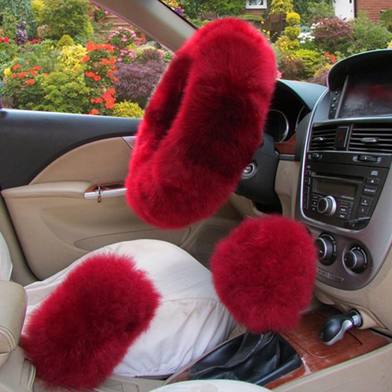 Long Plush Warm Steering Wheel Cover Woolen Handbrake Car Accessory Auto Fur 3pc