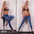 Fashion Leggings Women Sexy Jeans Look Leggings lmitate Denim Punk Rock Legging Gothic Style Elastic Pencil Pants Femme L8133