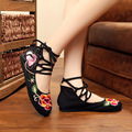2017 New Flower Embroidered Women Flat Heel High-top Walking Shoes Ankle Strap Lace-up Old Peking Style  Breathable Daily Shoes