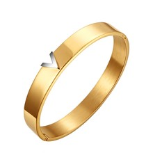Trendy Stainless Steel Rose Gold Color Bracelets & Bangles for Woman With Letter V Luxury Jewelry Brand Wedding Party Gift(China)